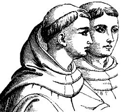 Monks with the monastic tonsure